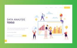 大数字销售的数据分析图着陆页 Seo分析图介绍软件的战略结果 皇族释放例证