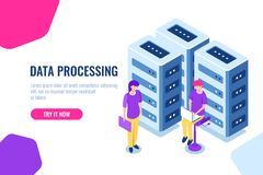 大数据中心概念、云彩数据库安全、女孩工程师、维护硬件和电子设备,服务器 向量例证