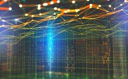 大数据全球网络 Blockchain 3d例证 神经网络和人工智能 抽象技术cyberspa 皇族释放例证
