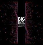 大数据摘要传染媒介形象化 线和小点列阵 大数据连接复合体 图表分数维元素 库存例证