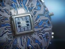 大数据概念 与文本大数据的CPU处理器关于spheri 免版税图库摄影