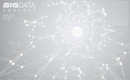 大数据浅灰色的背景传染媒介例证 白色信息放出中心形象化 将来的数字技术 库存例证