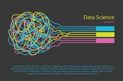 大数据科学例证 信息过滤器的机器学习算法和anaytic在平的乱画样式 向量例证