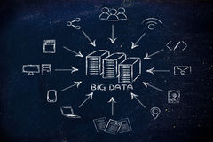 大数据,文件transfes和分享文件的例证 库存图片