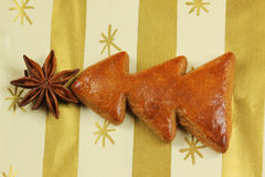 大料圣诞节曲奇饼星形结构树 库存照片