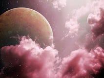 大月亮夜空红色口气 库存照片