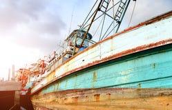 大木渔场小船 库存照片