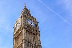 大本钟伊丽莎白塔时钟表盘,威斯敏斯特宫,伦敦,英国 免版税库存照片