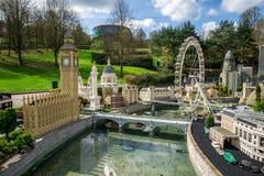 大本钟和伦敦眼在Legoland温莎miniland塑造 库存照片