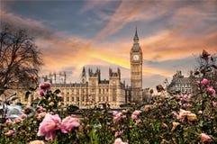 大本钟和威斯敏斯特宫在伦敦 免版税库存照片