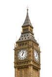 大本钟在伦敦,英国,隔绝在白色后面 库存照片