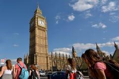 大本钟在威斯敏斯特宫伊丽莎白塔的钟楼  库存图片