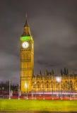 大本钟在晚上里,伦敦 免版税库存照片