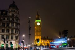 大本钟在晚上,伦敦,英国 免版税库存图片