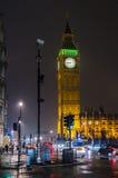 大本钟在晚上,伦敦,英国 免版税图库摄影