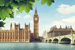 大本钟在晴天,伦敦 库存图片