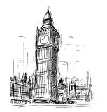 大本钟尖沙咀钟楼动画片剪影在伦敦,英国,英国 库存照片图片