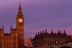 大本钟日落在伦敦 库存图片