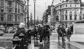 大本钟看法从特拉法加广场的黑白的 库存图片