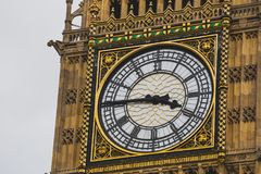 大本钟钟楼的细节 免版税图库摄影