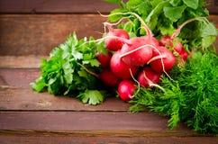 大束新有机菜、萝卜、菠菜、沙拉和绿色在老木桌,特写镜头上 免版税库存图片