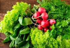 大束新有机菜、萝卜、菠菜、沙拉和绿色在老木桌,特写镜头上 免版税图库摄影