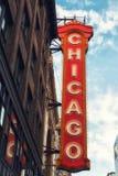 大标志历史的芝加哥剧院外 库存图片