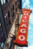 大标志历史的芝加哥剧院外 免版税图库摄影