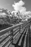 大格洛克纳山高高山路在奥地利 黑色白色 库存图片