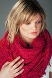 大桃红色围巾的美丽的妇女 图库摄影