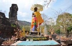 大桶Phou或Wat在巴色的Phu希瓦雕象在占巴塞省,老挝 免版税库存照片