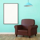 大模型海报,皮革扶手椅子 免版税库存照片