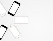 大模型电话流动彩色组黑屏 库存照片