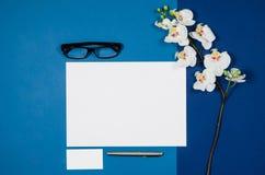 大模型空白页或杂志在五颜六色的背景顶视图 免版税图库摄影