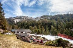 大横向山山 冷杉森林、山、天空和雪 意大利 库存照片