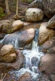 大横向山山 小河,小河,春天在森林,森林大岩石 柔滑的光滑的流动的水 Vedauwoo国家公园, Wyo 图库摄影