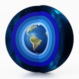 大气图的地球水平 3d例证 免版税库存图片