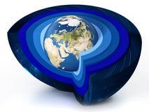 大气图的地球水平 3d例证 免版税图库摄影