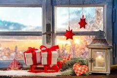 大气圣诞节窗口基石装饰 免版税库存图片