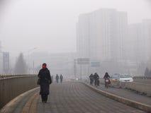 大气污染在北京 免版税库存图片