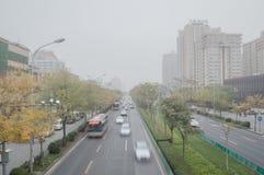 大气污染在北京 免版税库存照片