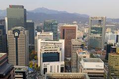 大气污染在汉城,韩国 免版税库存照片