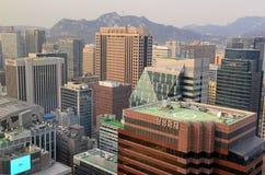 大气污染在汉城,韩国 免版税库存图片