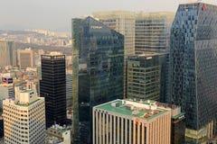 大气污染在汉城,韩国 图库摄影