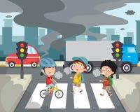 大气污染的传染媒介例证 免版税库存图片