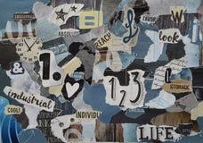 大气蓝色颜色的汽油,灰色,黄色,棕色,黑心情委员会拼贴画板料由与图的被撕毁的杂志纸制成 免版税库存图片