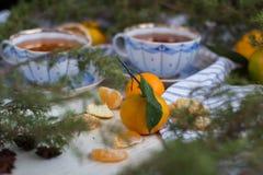 大气静物画 圣诞节早晨用茶和蜜桔 免版税库存照片