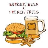 大汉堡包或乳酪汉堡、啤酒杯或者品脱、油煎的土豆或者炸薯条 汉堡字法 笤帚查出的白色 免版税库存图片