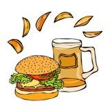 大汉堡包或乳酪汉堡、啤酒杯或者品脱和土豆楔子 汉堡商标 背景查出的白色 现实乱画C 免版税库存图片