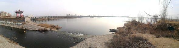 大汶河故乡的全景照片  免版税库存照片
